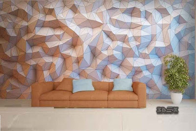 3D effect wallpaper designs for living room sofa wall