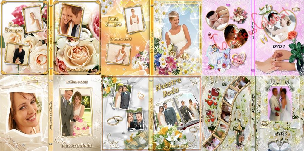 13 DVDs portadas BODAS plantillas psd