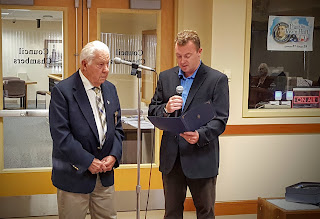 Town Council Chair Matt Kelly recognizes Frank Liotta for his long service