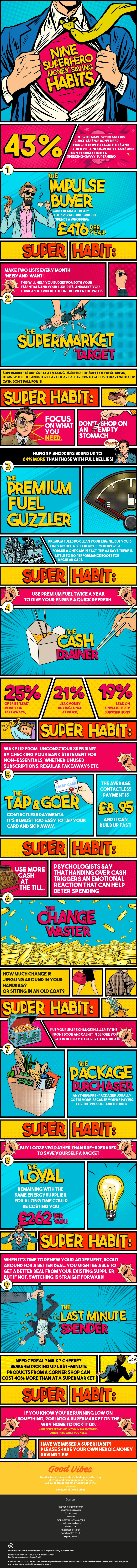 9 Superhero Money Saving Habits #infographic