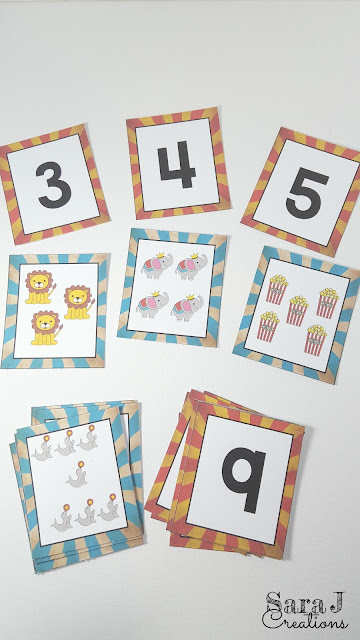 Free number cards and matching picture cards with a circus theme.  Perfect for sequencing numbers, matching number and picture and practicing counting.
