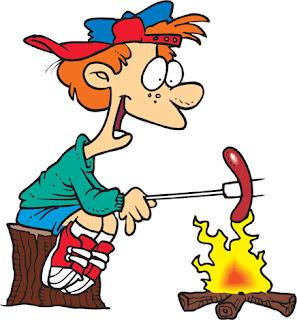 Clipart Image of Cartoon Boy Roasting a Hot Dog Over a Campfire