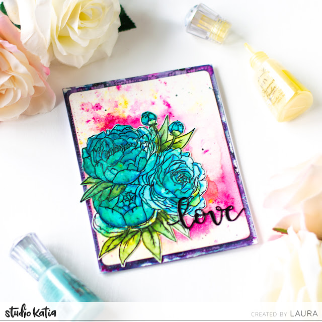 Watercolor with Tonic Studios Shimmer Powders and Studio Katia Floral (5)