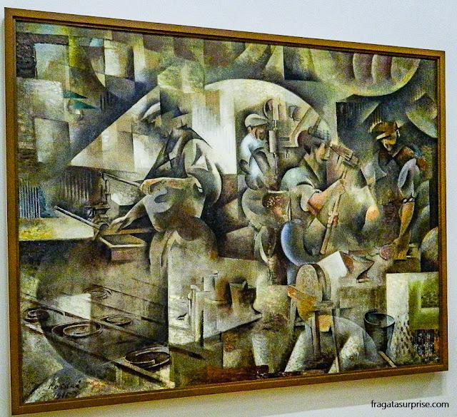 A Forja (1913), obra de Wladimir Baranoff-Rossiné, no Centro Georges Pompidou, Paris