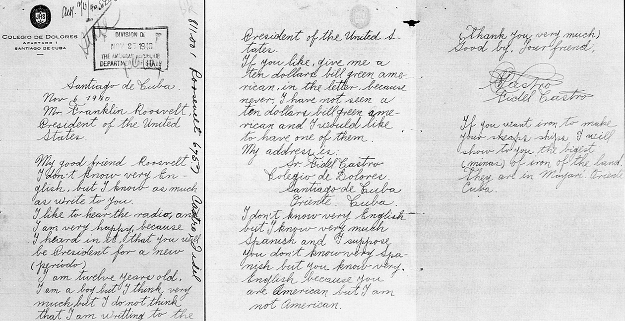 US History Teachers Blog: Letter from a Young Castro to FDR