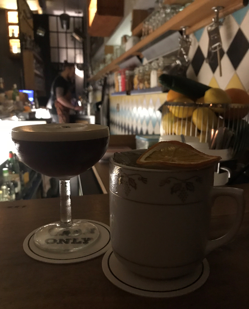 Espresso martini and earl grey cocktail at Cash Only Bar
