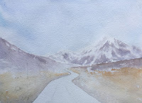 Initial stage of water colour painting, Road to Gurudongmar Lake