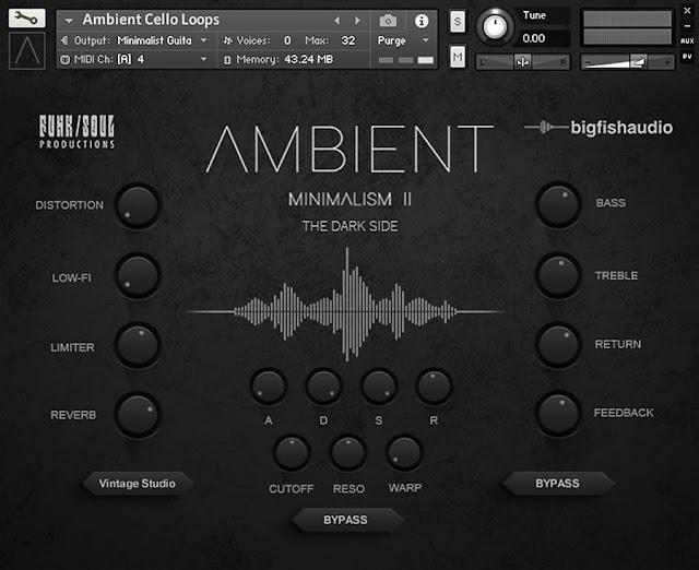 Interface da Library Big Fish Audio - Ambient Minimalism 2: The Dark Side (KONTAKT)