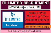 ITI Limited Recruitment 2017 –Marketing Executives & Assistant Executive Engineer