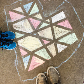 tape resist chalk hearts- easy art project to do with kids outside