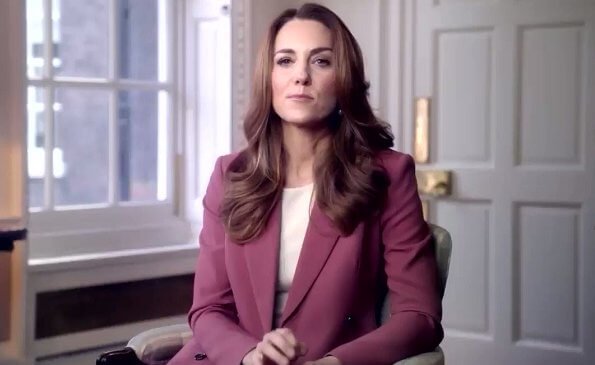 Kate Middleton, Duchess of Cambridge wore a dark rose wool blend double breasted blazer from Marks and Spencer