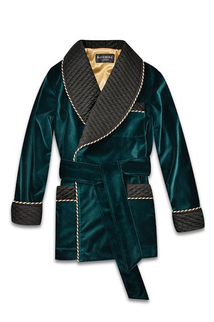 mens dark green velvet smoking jacket quilted silk robe dressing gown