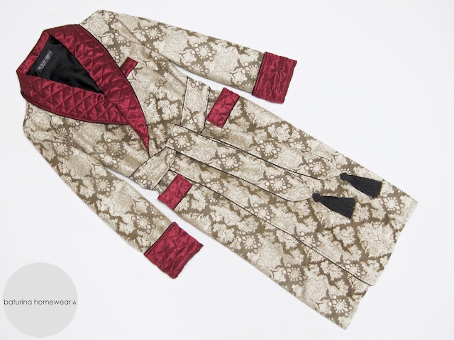 Burgundy and gold men's warm cotton dressing gown with paisley pattern and quilted silk shawl collar in floor length