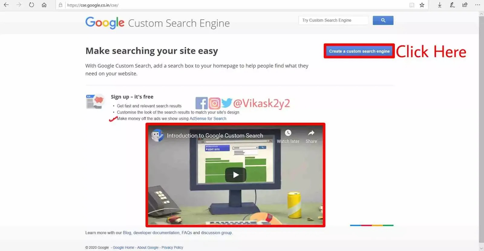 Click on create a custom search engine