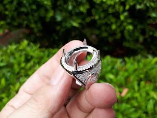 Ring Perak Hongkong 925 Kombinasi Batu Zircon PRK045 Mewah