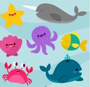 Los animalitos juegan en el mar y se divierten