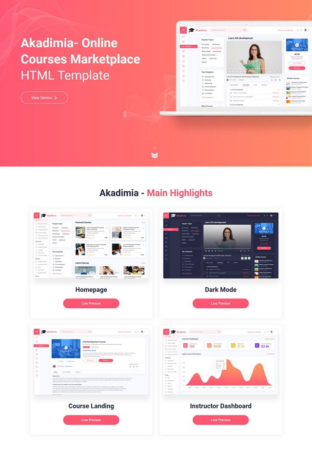 Online Courses Marketplace HTML Template