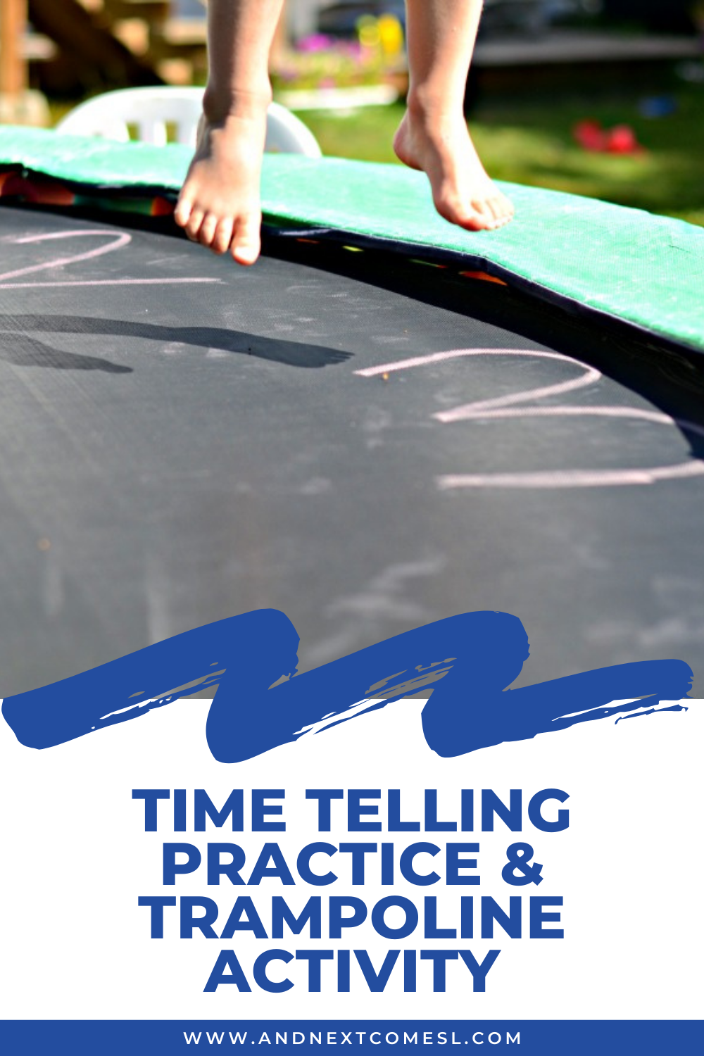 A fun gross motor trampoline clock activity for kids for time telling practice