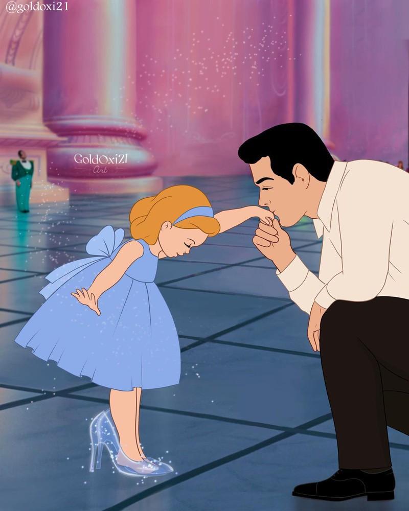 Príncipes da Disney como pais nas ilustrações de Oksana Pashchenko