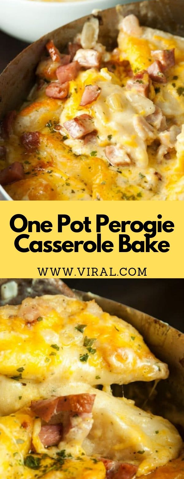 One Pot Perogie Casserole Bake #casserole #dinner