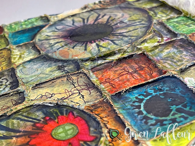 Textural Art Journaling with Stencils - Closeup 1 - Gwen Lafleur