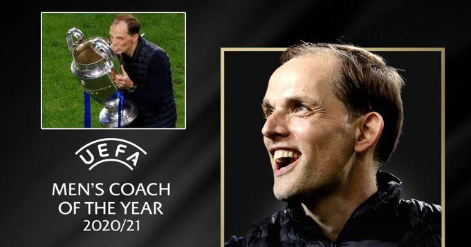 Chelsea Boss Tuchel reacts to winning UEFA Men's Coach of the Year Award