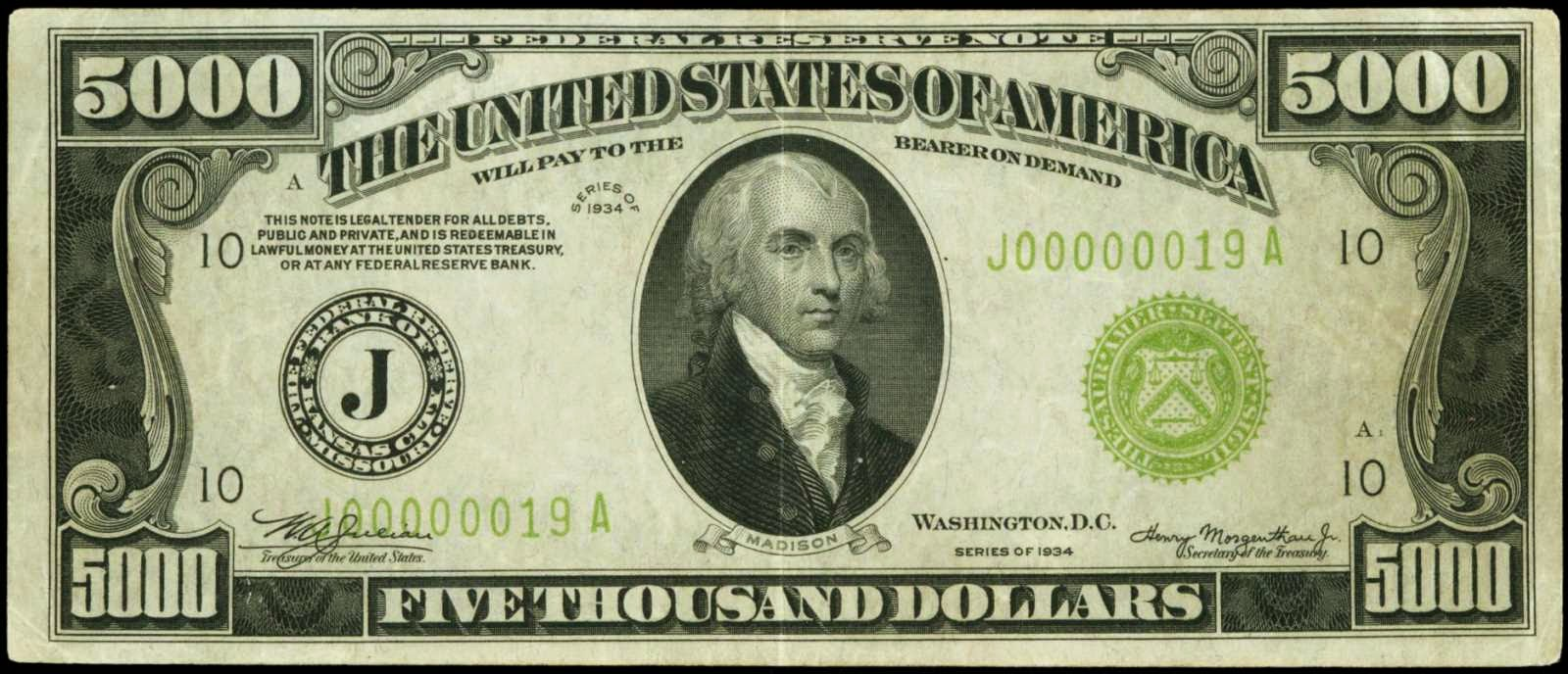United States currency 5000 Five Thousand Dollar Federal Reserve Notes