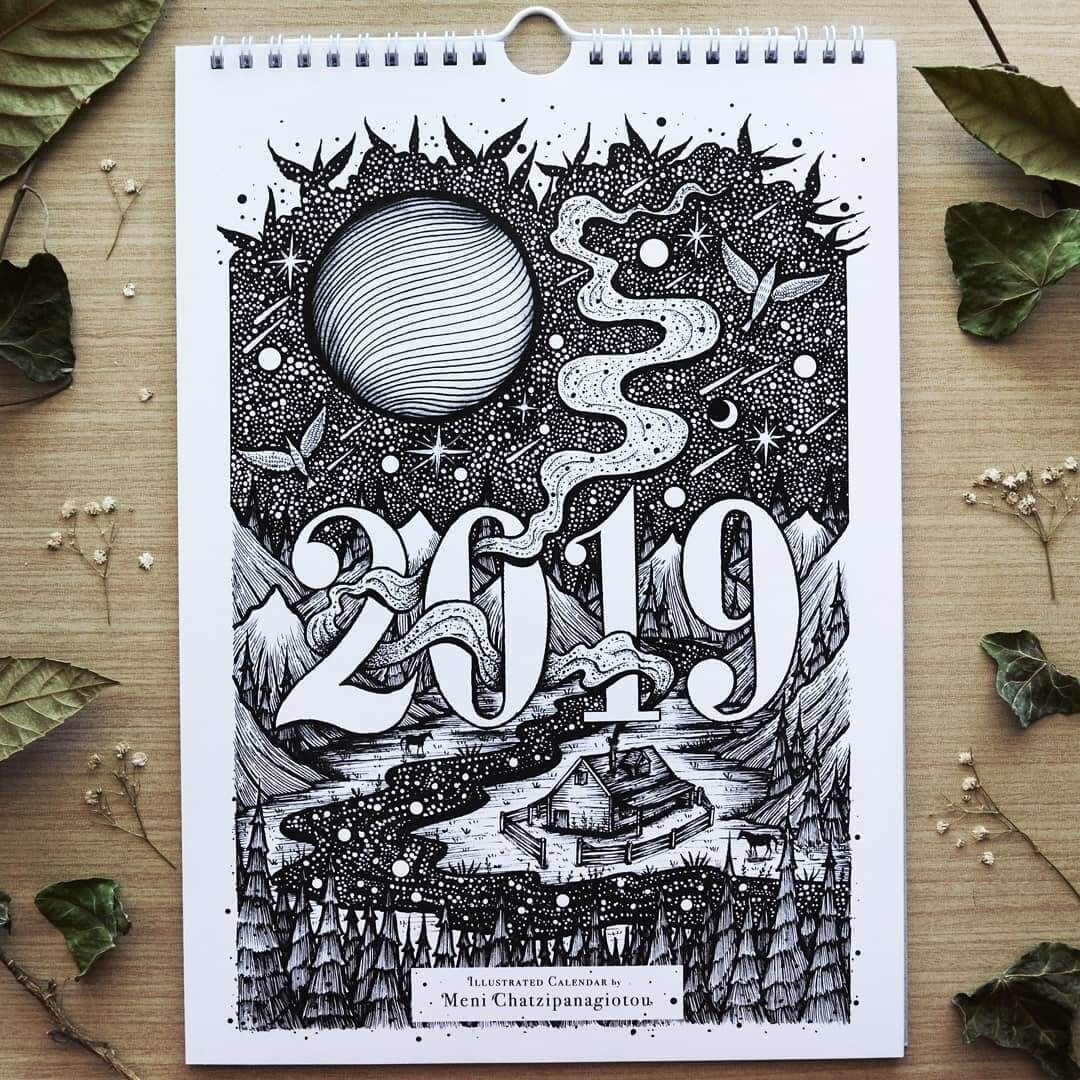 14-Wall-Calendar-2019-Meni-Chatzipanagiotou-Fantasy-and-Surreal-Ink-Illustrations-www-designstack-co