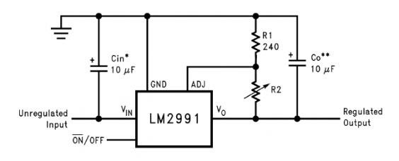 LM2991 Low Drop Regulator Typical Application Circuit Diagram and Datasheet