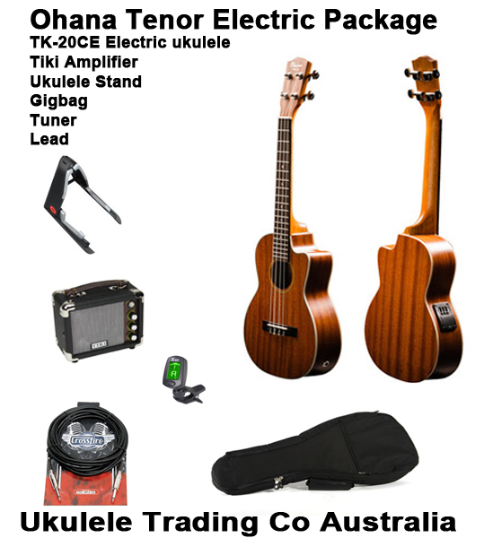 electric tenor ukulele and amplifier package everything you need to plug in turn up and rock. Black Bedroom Furniture Sets. Home Design Ideas
