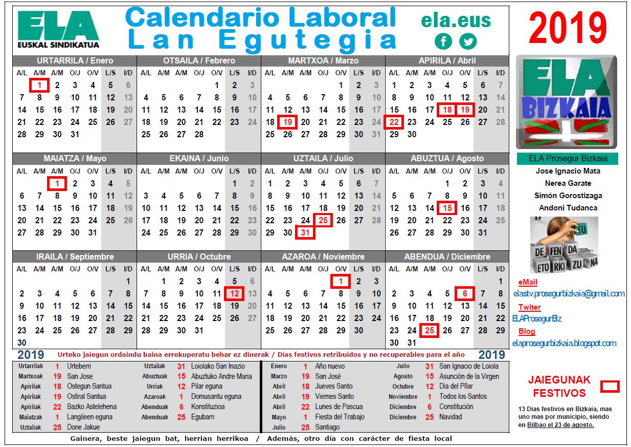 Calendario 2020 Bizkaia.Ela Prosegur Bizkaia Calendario Laboral Bizkaia 2019