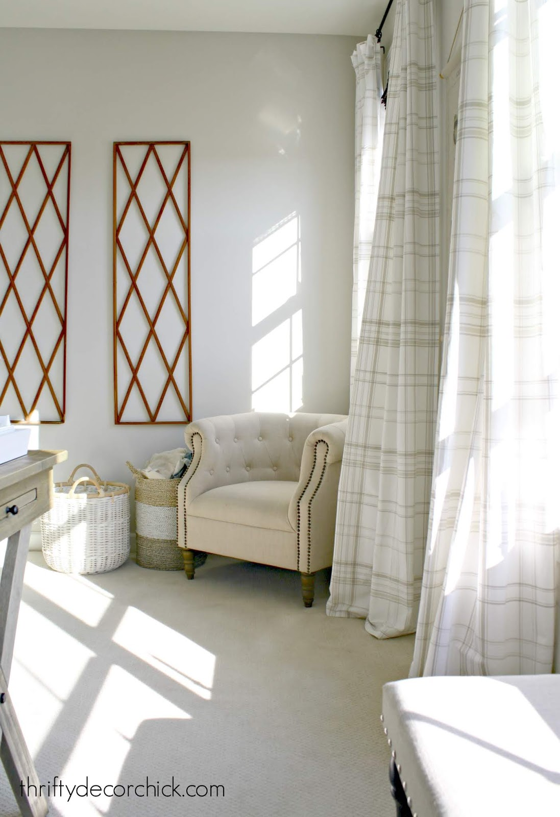 Neutral plaid drapes