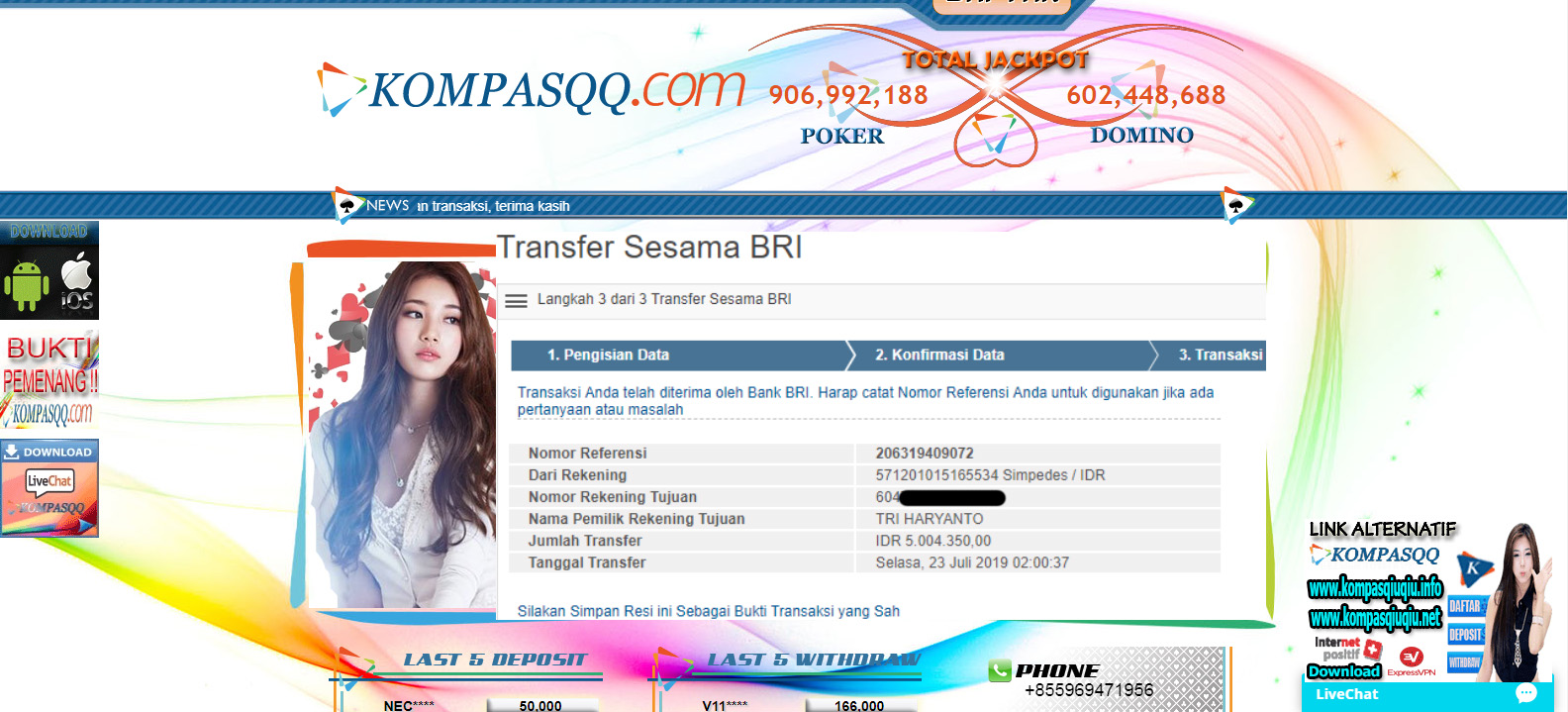 Bukti Kemenangan Kompas99 Bukti Transfer Kemenangan Kompasqq Rp 5 004 350