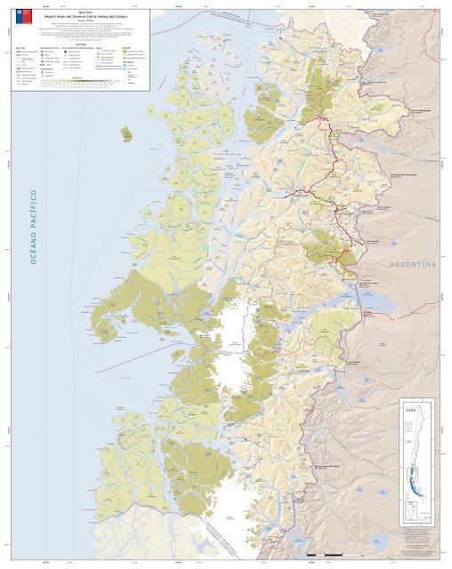 Mapa rodoviário do Centro Sul do Chile - região de Aisen