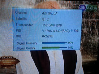 D2H Sajada TV channel is temp. FTA from ST2 Satellite