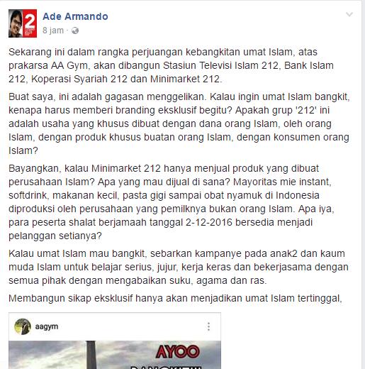 Terus Nyinyiri Islam, Aktivis JIL Ade Armando : Minimarket 212 Gagasan Menggelikan. Netizen :  Lah trus knp lo yg sewot?