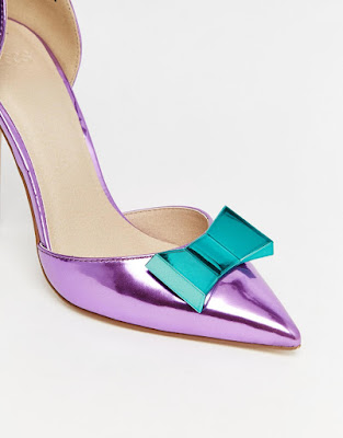Asos Pop Art Shiny Purple Pointed High heels with bow