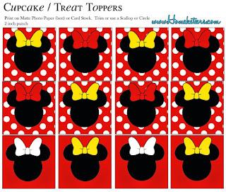 Wrappers para cupcakes de Minnie en Rojo , Negro y Lunares.