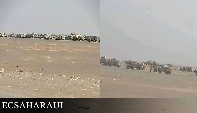 الإحتلال المغربي ينقل قواته العسكرية صوب السمارة المحتلة بعد تدمير أحدى ثكناته قرب جدار العار.