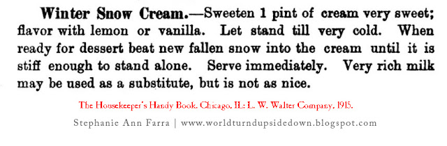 WW1 World War One Recipe Dessert Snow Cream 1915
