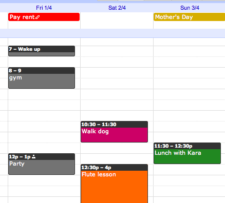 Google Calendar Event Colors