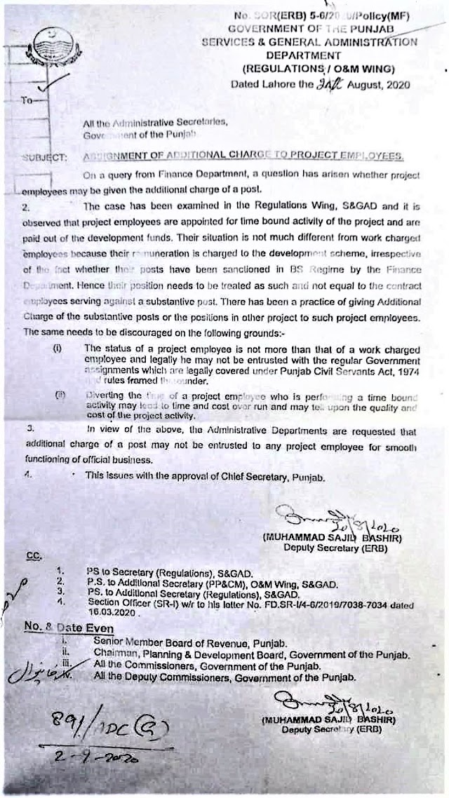 ASSIGNMENT OF ADDITIONAL CHARGE TO PROJECT EMPLOYEES