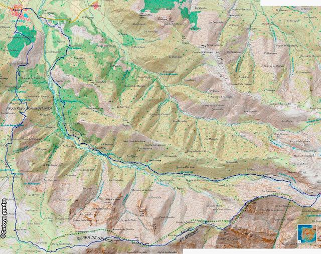 Mapa IGN de la ruta por la Garganta de Bohoyo y la Sierra Plana en Gredos.