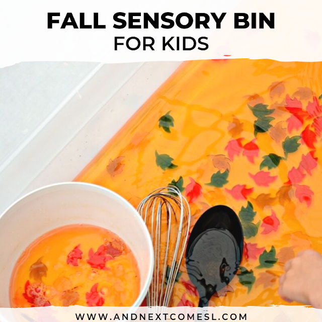 Autumn and fall activities for toddlers: a super easy water sensory bin for fall that works on fine motor skills