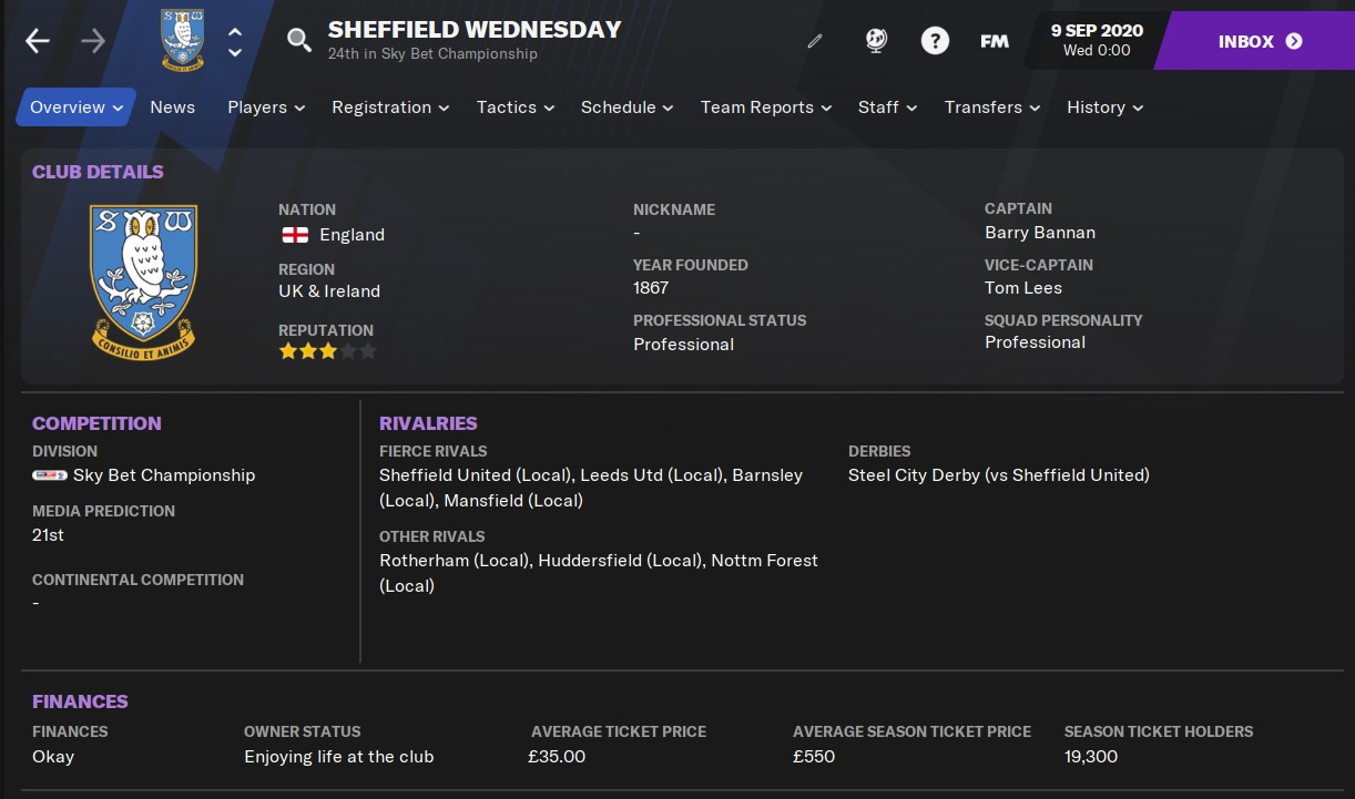 Sheffield Wednesday Football Manager 2021