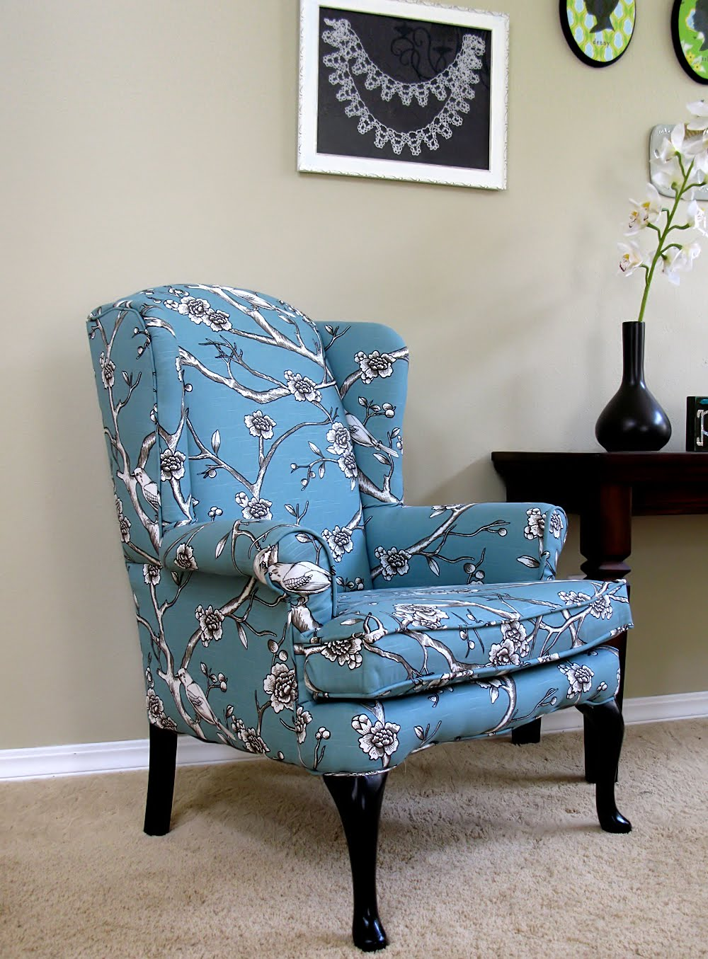 Diy Living Room Chair Cover Sunroom Ideas Modest Maven Vintage Blossom Wingback