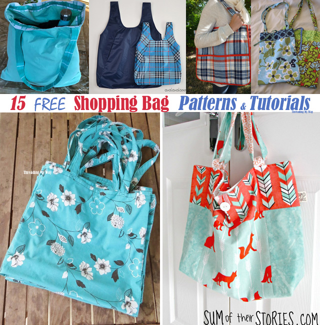 15 free reusable shopping, grocery bags and market tote tutorials and patterns. Threading My Way
