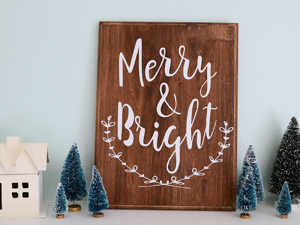 Wood Christmas Sign Merry and Bright with Heat Transfer Vinyl