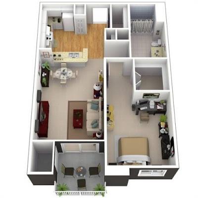 Contoh Model Denah Rumah Minimalis 1 Lantai Type 36