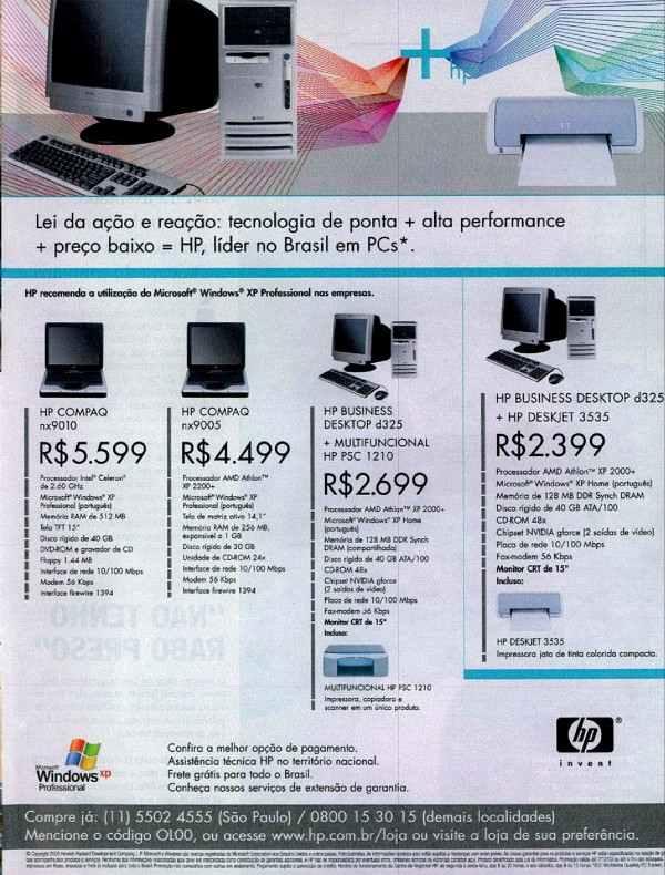 Propaganda da HP promovendo sua linha de computadores em 2003